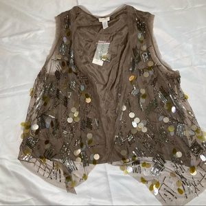Chico's NWT Embellished Vest Newport Taupe Size 2